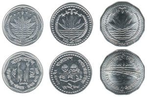 bangladesh currency 1, 2, 5 metal coin
