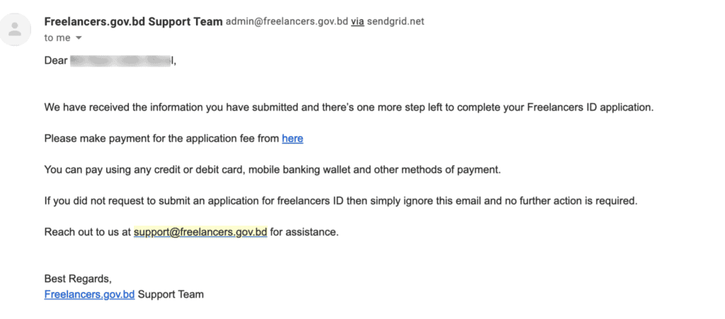 payment link via email for digital id card of freelancers